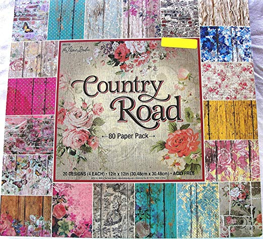 Country Road 12x12, the Paper Studio, Barnwood, Shabby, Vintage, Floral, Damask, Scrapbook, Cardmaking Paper Pack 80 Sheets by Paper Studio