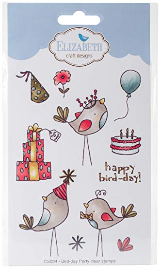 Elizabeth Craft Designs Bird-Day Parte Clear Juego de Sellos, Transparente