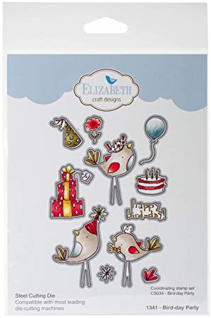 Elizabeth Craft Designs Bird-Day Parte Troqueles, Gris