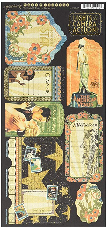 Graphic 45 Vintage Hollywood Etiquetas y Bolsillos, Multicolor