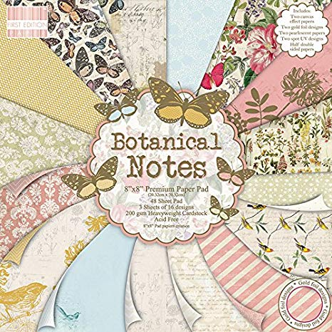 Trimcraft First Edition 8 x 8 Botanical Notas papeles