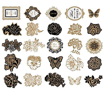 Woodmin Ephemera Pack Vintage Scrapbook Supplies Etiquetas Die-Cut Paper Pack Nota y etiqueta Die cuts (25 Piezas, SD019)